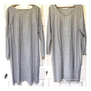Soft Surroundings Long Sleeve Side Slit Dress-3X